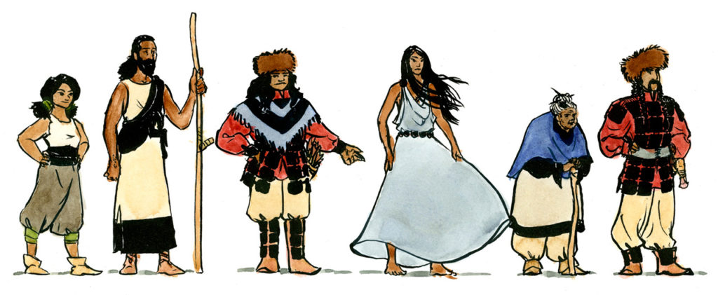 Lineup of six character designs for Wolf Neighbours